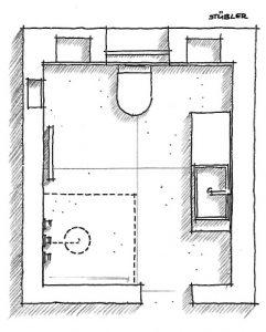 Der Plan zeigt, dass in diesem Kleinbad der Duschbereich auch als Bewegungsfläche vor Waschtisch und WC genutzt wird.